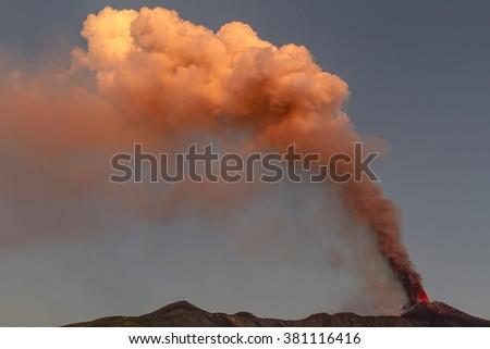 Etna, volcanic plume dawn - stock photo
