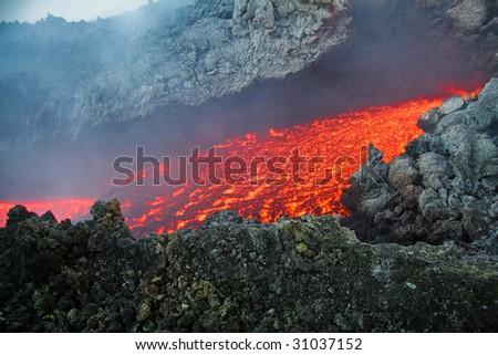 Etna vulcan lava magma in Sicily - stock photo