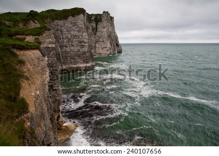 Etretat, Normandy west cliff rocks at la manche seashore between France and England