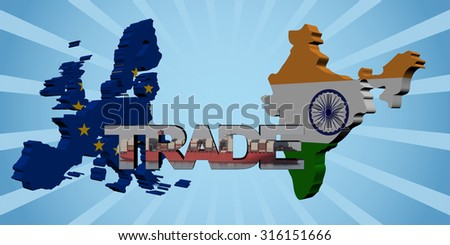 EU and Indian map flags with trade text illustration - stock photo
