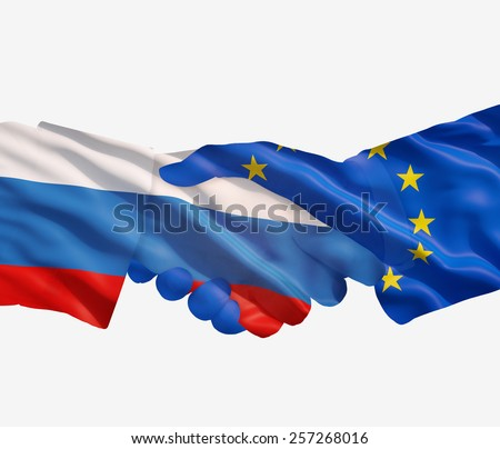 EU and Russian agreement, on a white background. - stock photo