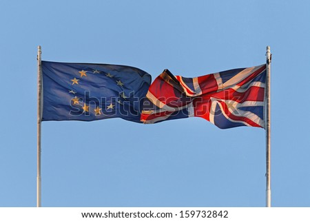 EU and UK flags coalition together - stock photo