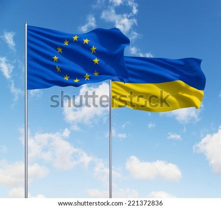EU and Ukrainian deal - stock photo