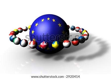 EU European Community Globe and Flags - stock photo