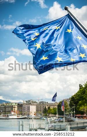 EU flag against blue sky - stock photo