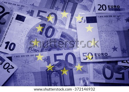 Eu flag and euros - Finance concept   - stock photo