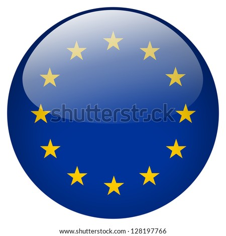 EU flag button - stock photo