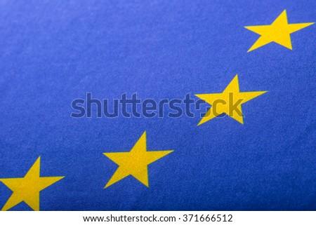 EU Flag. Euro Flag. Flag of European Union waving in the wind. Detailed star flag Euro. - stock photo