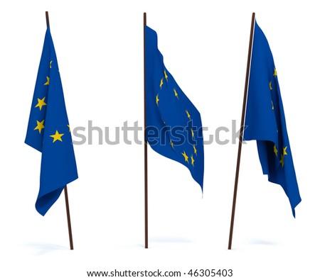 EU flag. Isolated on white background. - stock photo