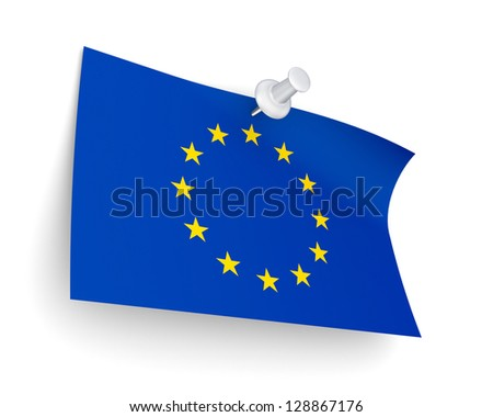 EU flag.Isolated on white background.3d rendered.