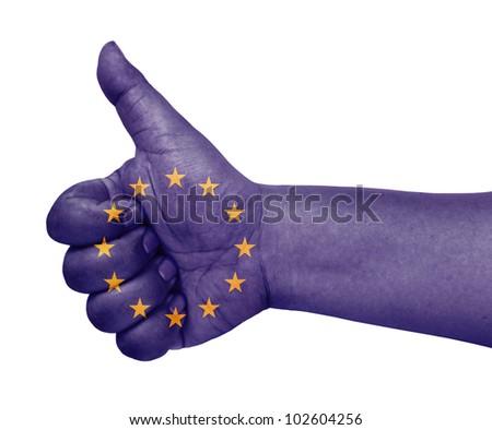 EU flag on thumb up gesture like icon - stock photo