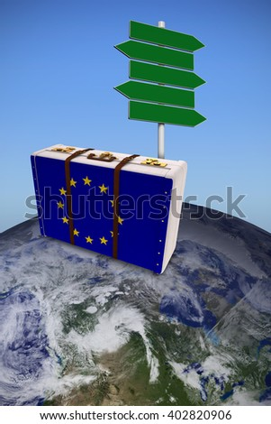 EU flag suitcase against bright blue sky - stock photo