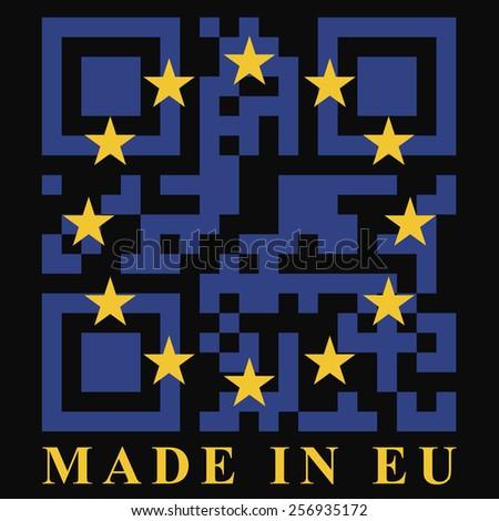 EU QR code flag - stock photo