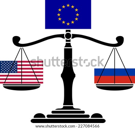 EU scales.first variant. raster version - stock photo