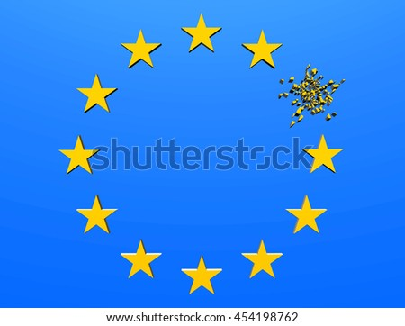 EU star flag 3D illustration with one star disintegrating following Brexit  - stock photo