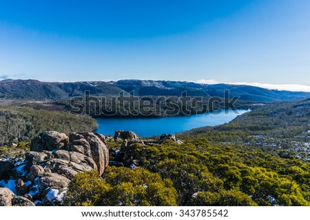 Eucalyptus forest view from lookout at Mount Field National Park, Tasmania - stock photo