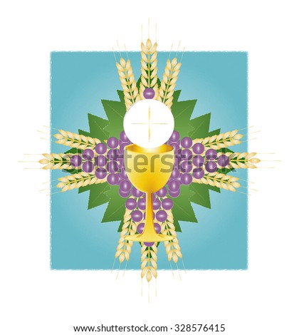 Eucharist Symbol Bread Wine Chalice Host Stock Illustration