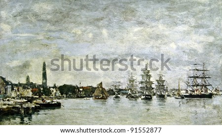 """Eugene Boudin """"The harbor of Antwerp"""". Illustration from the book """"Paintings by contemporary artists in paint,"""" publisher by Knebel, Moscow, Russia, 1904. - stock photo"""