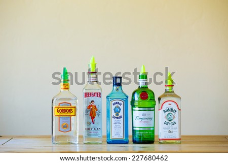 EUGENE, OR - JUNE 23, 2014: Gin selection at a restaurant bar, ready to make mixed cocktails. - stock photo