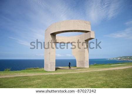 Eulogy of the Horizon by Eduardo Chillida public monument in Gijon city Asturias Spain - stock photo