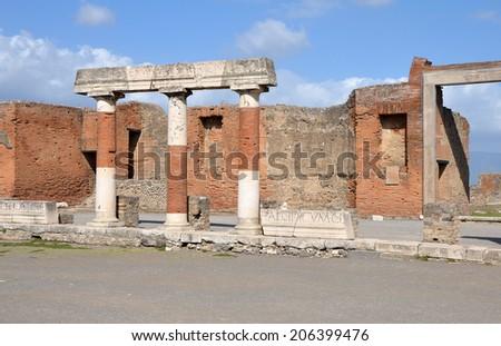 Eumachias Building portico on the Forum in Pompeii, Italy - stock photo