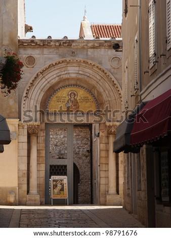 Euphrasian Basilica - UNESCO World Heritage Site in Porec, Croatia, Istria peninsula. - stock photo