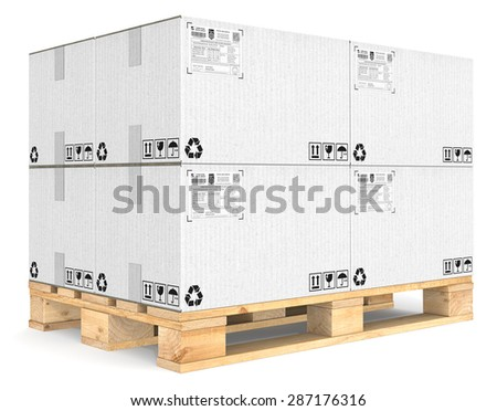 Eur Pallet. Eur Pallet with pile of white cardboard boxes. Detailed Shipping labels. - stock photo