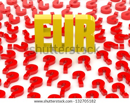 EUR sign surrounded by question marks. Concept 3D illustration. - stock photo