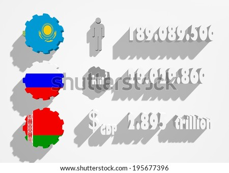 Eurasian Economic Union members flags and main parameters info graphic - stock photo