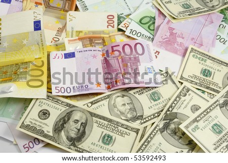 euro and american money currency - stock photo