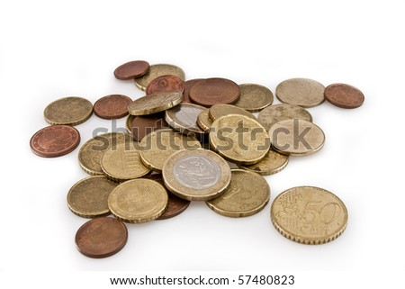 euro and cent coins isolated on white