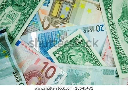 Euro and dollar background. - stock photo