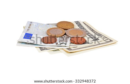 Euro and dollar money, isolated on a white background