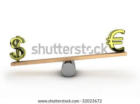 Euro and dollar on a see-saw to test wich one is the heaviest - stock photo