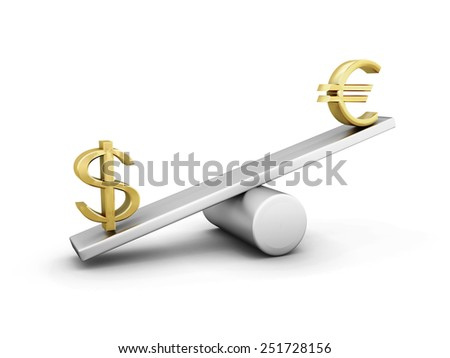 Euro and dollar on a swing isolated on white background. Measuring the weight of the euro and the dollar. - stock photo