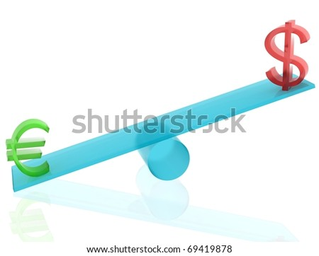 Euro and dollar on blue seesaw with white isolated background. 3D render. - stock photo