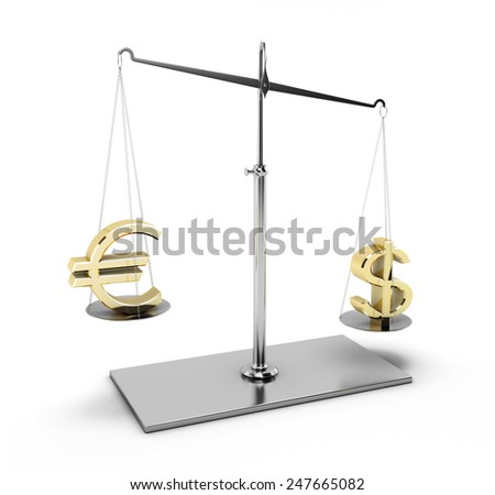 Euro and dollar on scales. Euro and dollar on scales isolated on white background. 3d render image. - stock photo