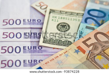 Euro and dollars banknotes: twenty, fifty, five hundred, one hundred - stock photo
