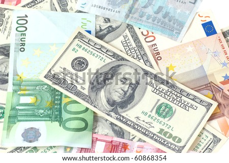 Euro and dollars can be used for background - stock photo