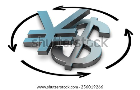 Euro and Yen symbols with four circular arrows over white background , Illustration of exchange between two currencies. - stock photo