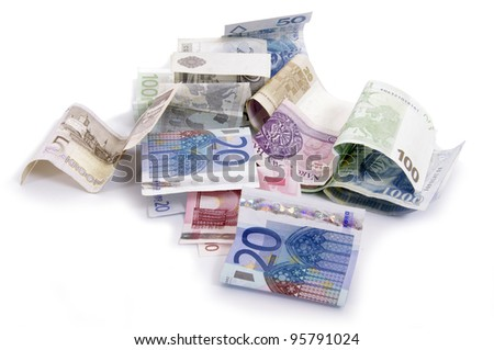 Euro and zlot banknotes on a table