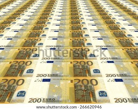 Euro background. Two hundred euros. 3D illustration. - stock photo
