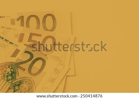 euro bank note with filter color. - stock photo