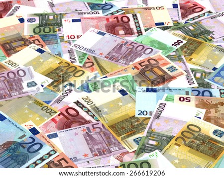 Euro bank notes background. Perspective view. - stock photo