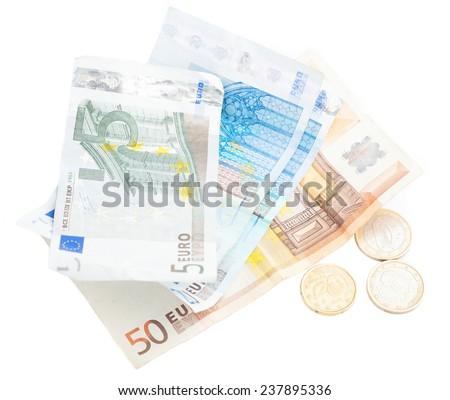 euro bank notes isolated - stock photo