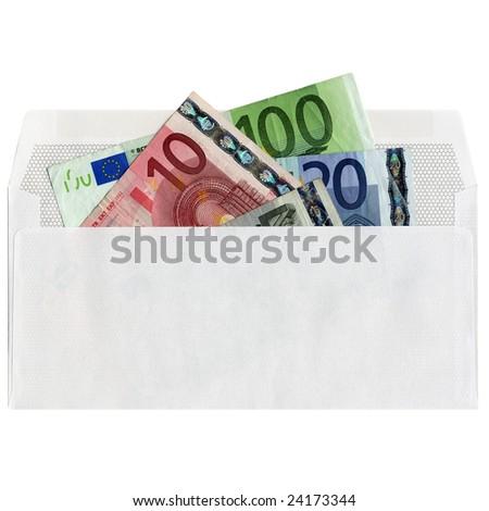 Euro bank notes money in an envelope - stock photo