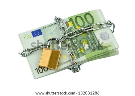 euro bank notes with a chain and padlock. symbolic photo for security and inflation. - stock photo