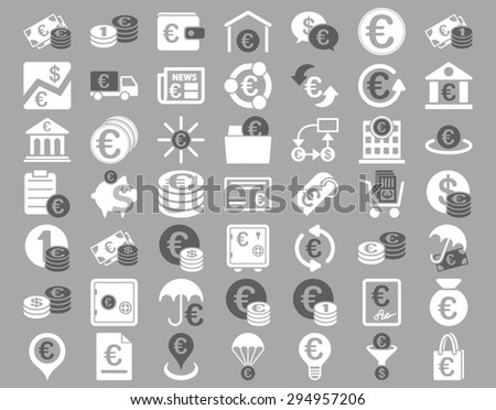 Euro Banking Icons. These flat bicolor icons use dark gray and white colors. Glyph images are isolated on a silver background.  - stock photo