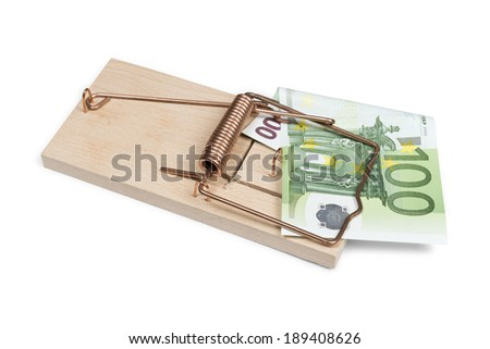 Euro banknote in mouse trap isolated on white with clipping path - stock photo