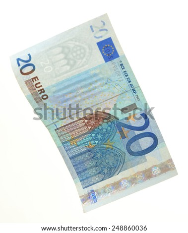 Euro banknote isolated on white - stock photo